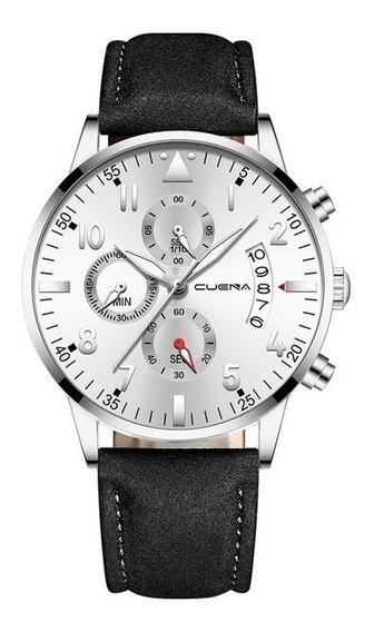 Relógio Cuena Ultra Fino Analógico Masculino Quartz Preto