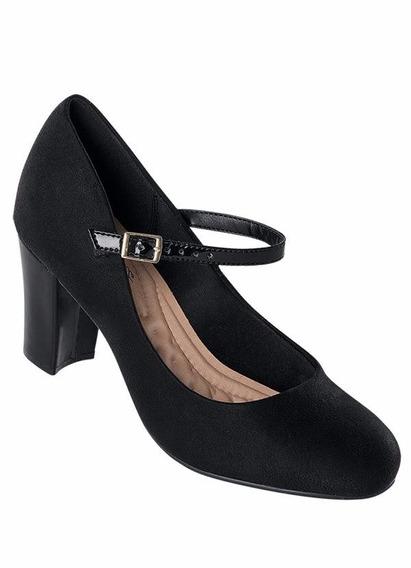 Sapato Feminino Salto Confotavel Com Fivela Preto Promoçao