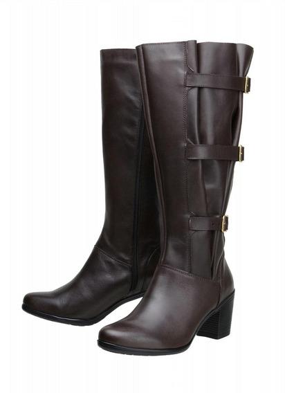 Bota Feminina Montaria Atron Shoes Couro Panturrilha 60cm