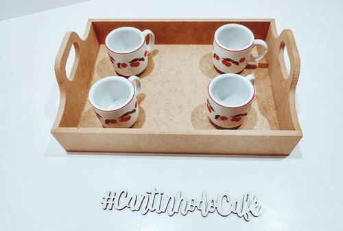 Imagem 1 de 6 de Kit 5 Bandejas Para Café Pequena Em Mdf - 25x18x4 + Brinde