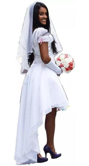 Vestido De Noiva Caipira Festa Junina Mullet Com Luva