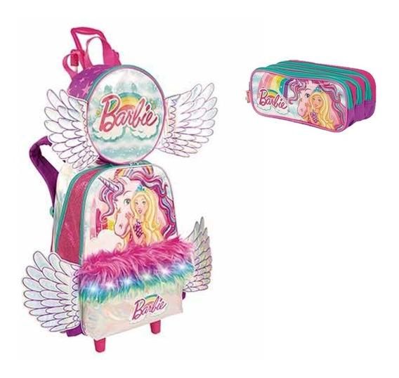 Kit Mochila Infantil Rodinha Unicornio Barbie+lanchei+estojo