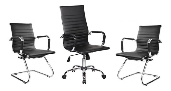 Kit Cadeiras De Escritório Presidente Secretária