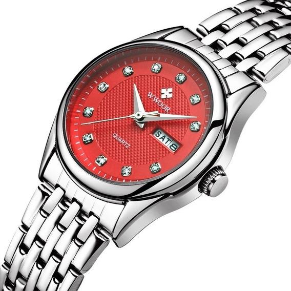 Relógio Feminino Vermelho Calendário Duplo Mod 8824