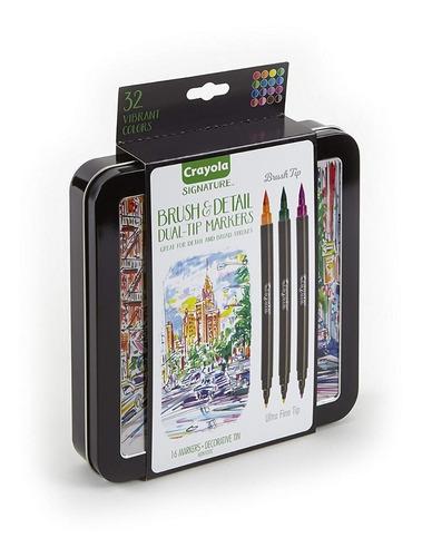 Marcadores Crayola Doble Punta Lata Decorativa 16u 32 Puntas
