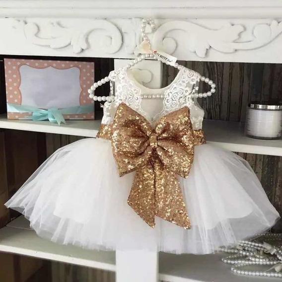 Vestido De Gala Para Niña Bebe Blanco Moño Dorado Hermoso