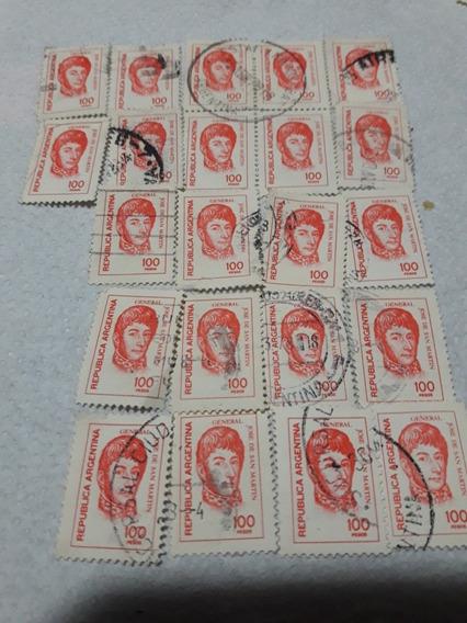 Estampilla San Martín 100 Pesos Lote De 22