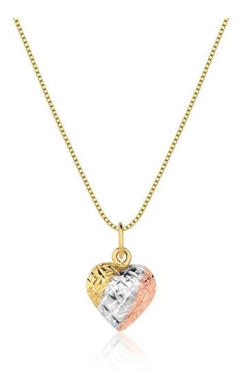 Cordão Veneziana Feminino Ouro 18k 45cm E Pingente Coração