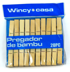10 Pacotes De Prendedor De Bambu, Cada Pacote 20 Pecas