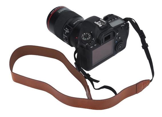 Alça Correia De Pescoço Em Couro P/ Câmeras Dslr Canon Nikon