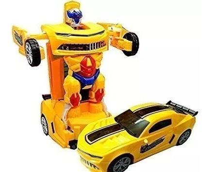 Carrinho Camaro Amarelo Vira Robô Transformes Bate Volta