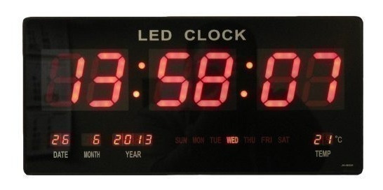 Reloj Digital Grande Led 36cm Rojo Pared