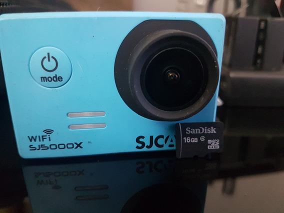 Câmera Sjcam 5000x Elite Azul 4k Wi-fi+cartão Micro Sd 16gb