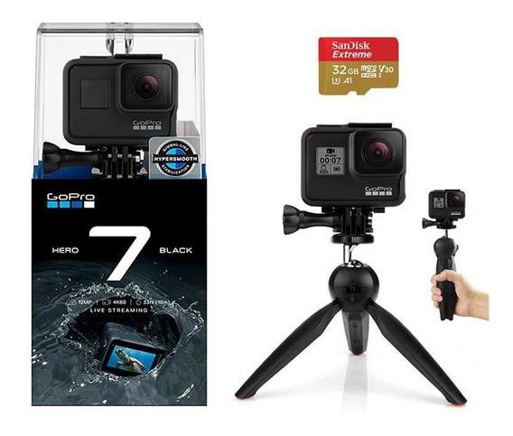 Gopro Hero 7 Black Câmera 4k + Tripé Bastão Mini 2 Em 1