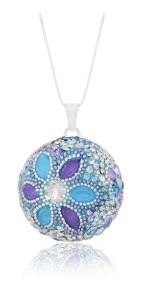 Llamador De Ángeles En Plata Con Cristales, Tonos Azul, Cian