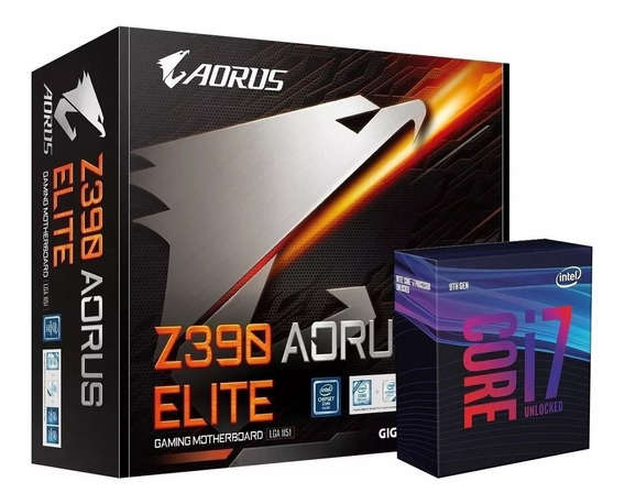 Kit Gigabyte Z390 Aorus Elite + Processador Core I7-9700k