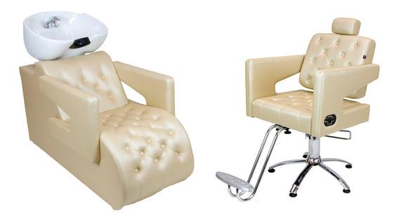 Kit Poltrona Cadeira + Lavatório Móveis Para Cabeleireiro