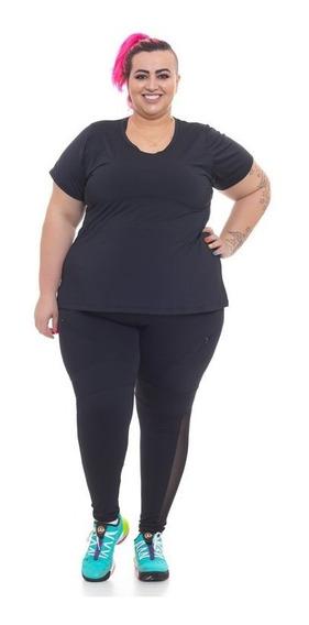 T-shirt Plus Size Acinturada Wonder Size Fluity® Preta