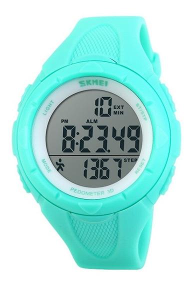 Relógio Pedômetro Feminino Skmei Digital 1108 - Verde Água