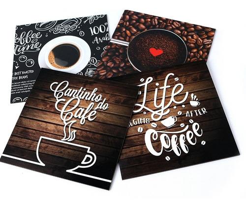 Imagem 1 de 3 de Kit 4 Quadros Decorativos Cantinho Do Café
