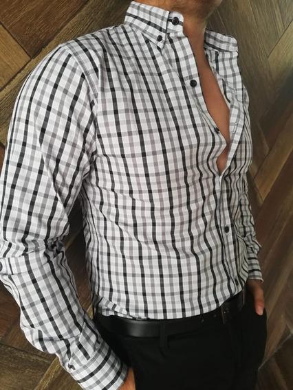 Camisa Casual Johans Slim Fit Azul Cuadros Blanco Y Negro