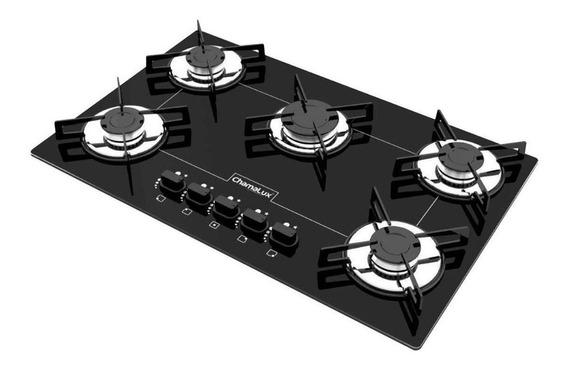 Fogão cooktop a gás Chamalux 5 Bocas Luana preto