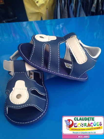 Sandálias Bebê Recém Nascido Azul Aberta