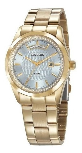Relógio Seculus Feminino Social Dourado