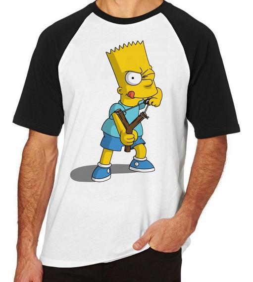 Camiseta Blusa Raglan Camisa Simpsons Bart Estilingue Menino
