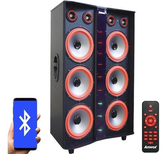 Caixa Som Bluetooth 3000w 6 Sub Mp3 Fm Usb Aux Led Paredão