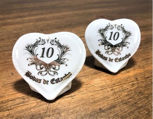 Imagem 1 de 8 de Kit 10 Corações Bodas De Estanho 10 Anos De Casamento