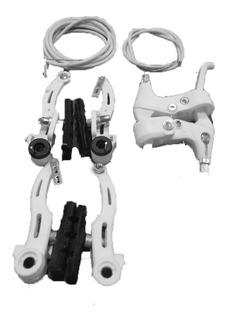 Frenos Bicicleta V/brake Completos Cables Blanc- Racer Bikes