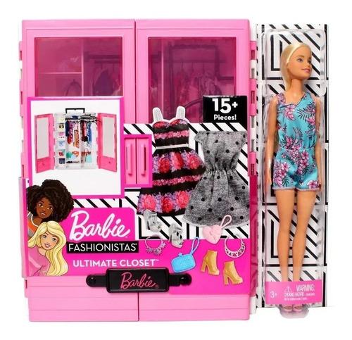 Imagen 1 de 4 de Barbie Closet De Lujo Portatil Original Con 15 Piezas Mattel