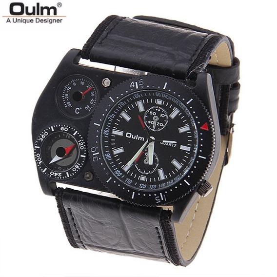 Relógio Oulm 4094m Pulseira Marrom Com Termômetro E Bússola