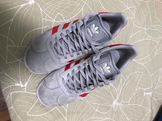 Tênis adidas Gazelle, Cinza Com Vermelho