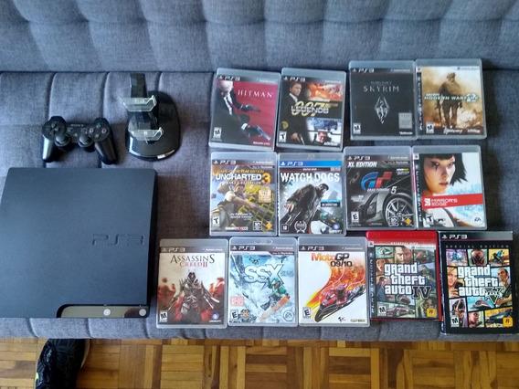 Playstation 3 + 9 Jogos + 1 Controle Original E Regarregador