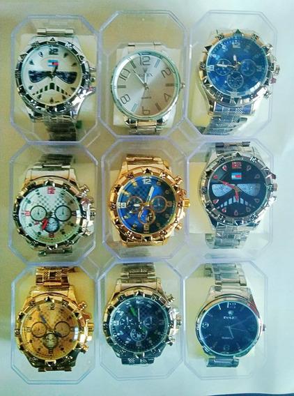Kit Com 6 Relógios Masculinos De Aço P/ Revenda Varias Cores