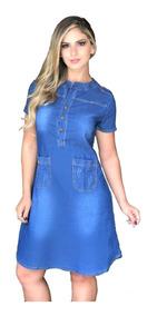 Roupas Femininas Vestido Médio Jeans Barato Promoção 037