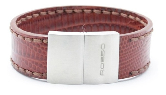 Bracelete Rosso De Aço Com Couro Cor Cafe 21mm De Largura