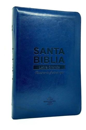 Imagen 1 de 8 de Biblia Estuche Azul Y Dorada Letra Grande Reina Valera 1960