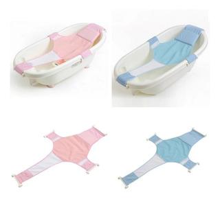 Hamaca Malla Para Bañera Tina De Bebe 4 Puntas Azul Rosa