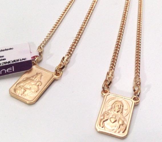 Escapulário Masculino Jesus Folheado Ouro Rommanel 530768