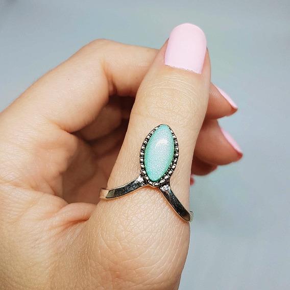 Anel Cor Prata Com Pedra Azul Brilhante Número 21