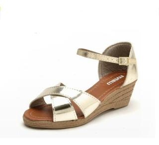 Sapato Sandalia Feminina Anabela Dourada