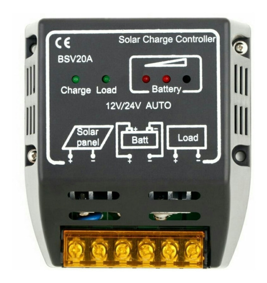 Controlador De Carga 20a 12-24v P/ Módulo -placa Solar Auto
