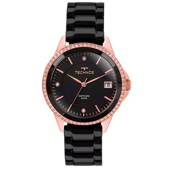 Relógio Technos Cerâmica Preto Com Rosê 2315kzr/4p