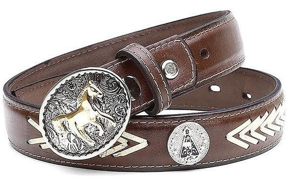 Cinto Infantil Country Couro Legítimo Fivela Cowboy