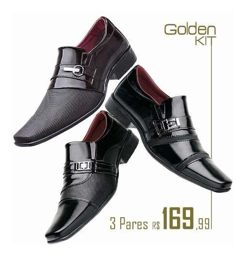 Sapatos Sociais Masculino Kit 3 Sapatos De Auto Padrão
