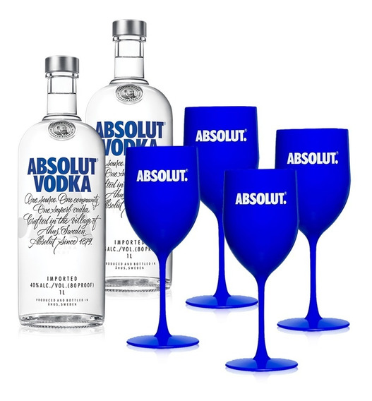Kit Vodka Absolut 2 Unidades 1l + 4 Taças