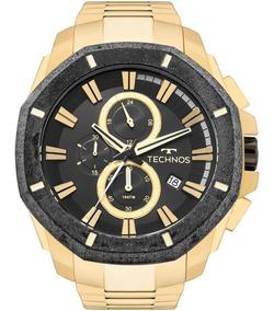 Relógio Technos Masculino Dourado E Preto Original Js16ab/4p